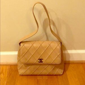 Chanel beige CC lambskin turnlock diamond quilted